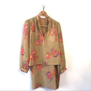 Vintage 2 Piece Skirt Set Floral Print
